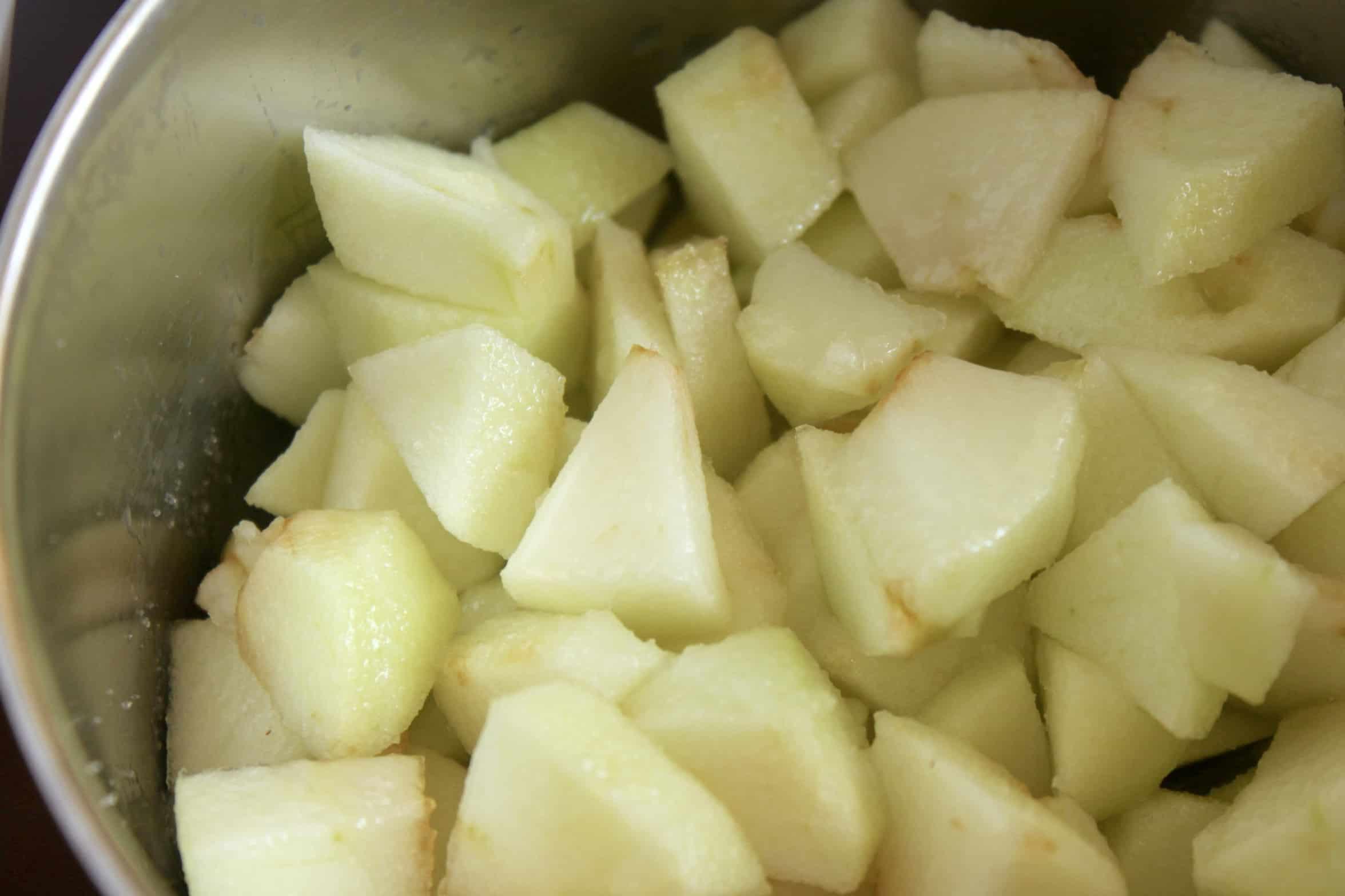 apple chunks in a pot