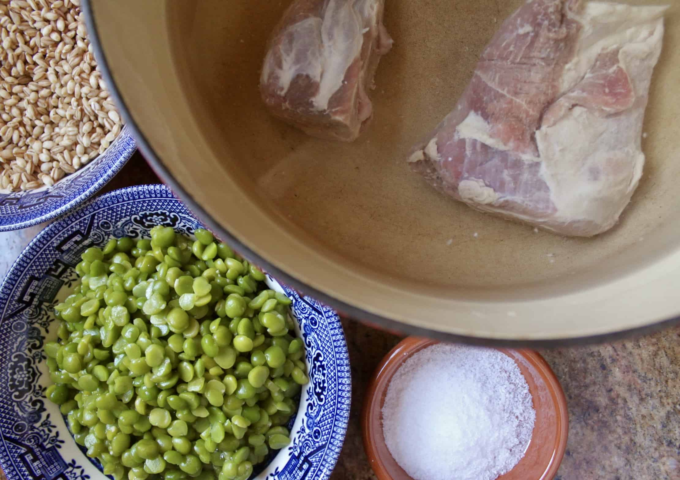 split peas, barley, salt and bones in a pot