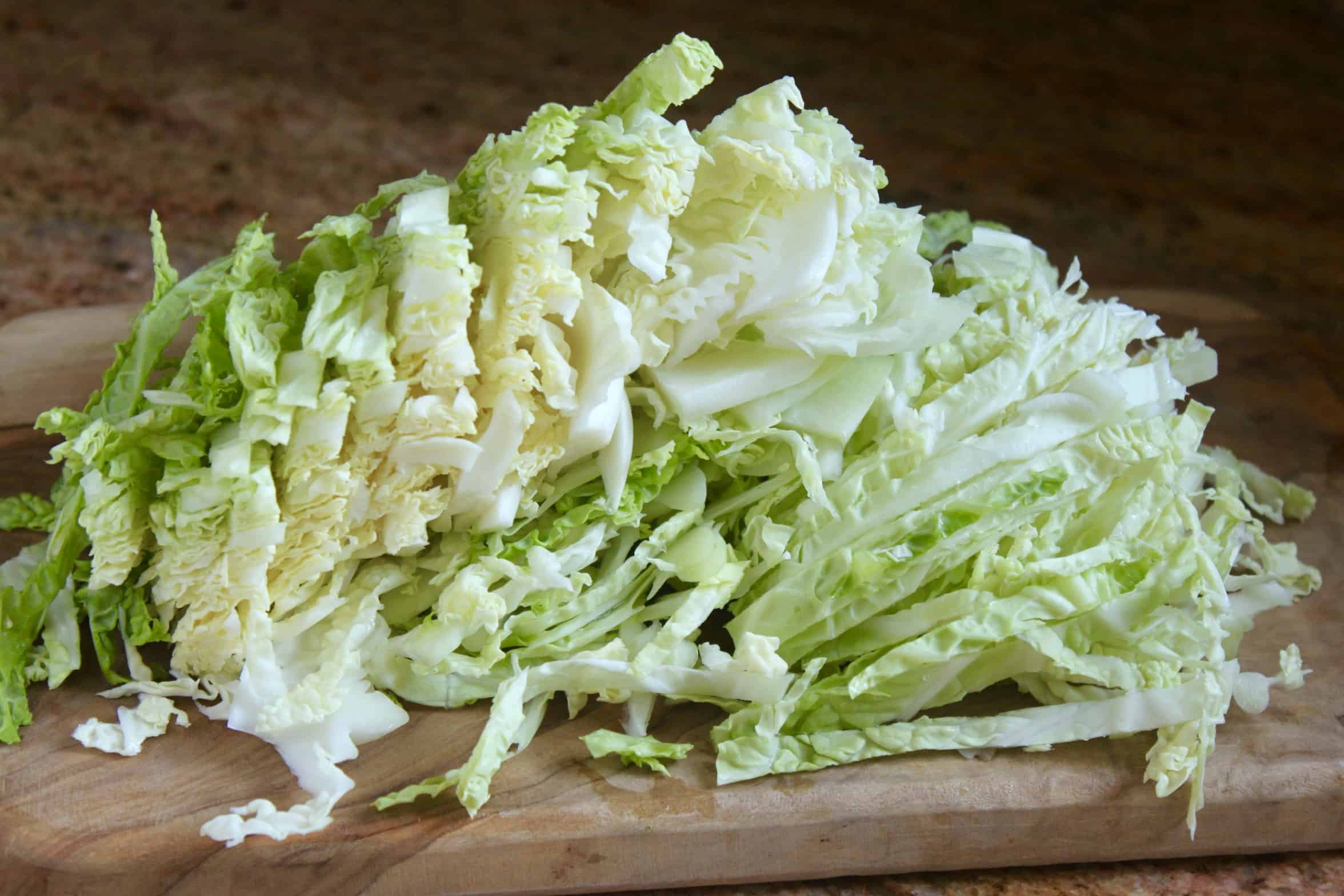 shredded cabbage on a board