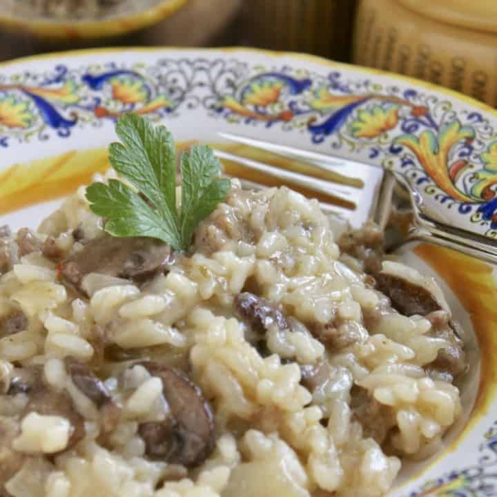 sausage and mushroom risotto in an italian bowl