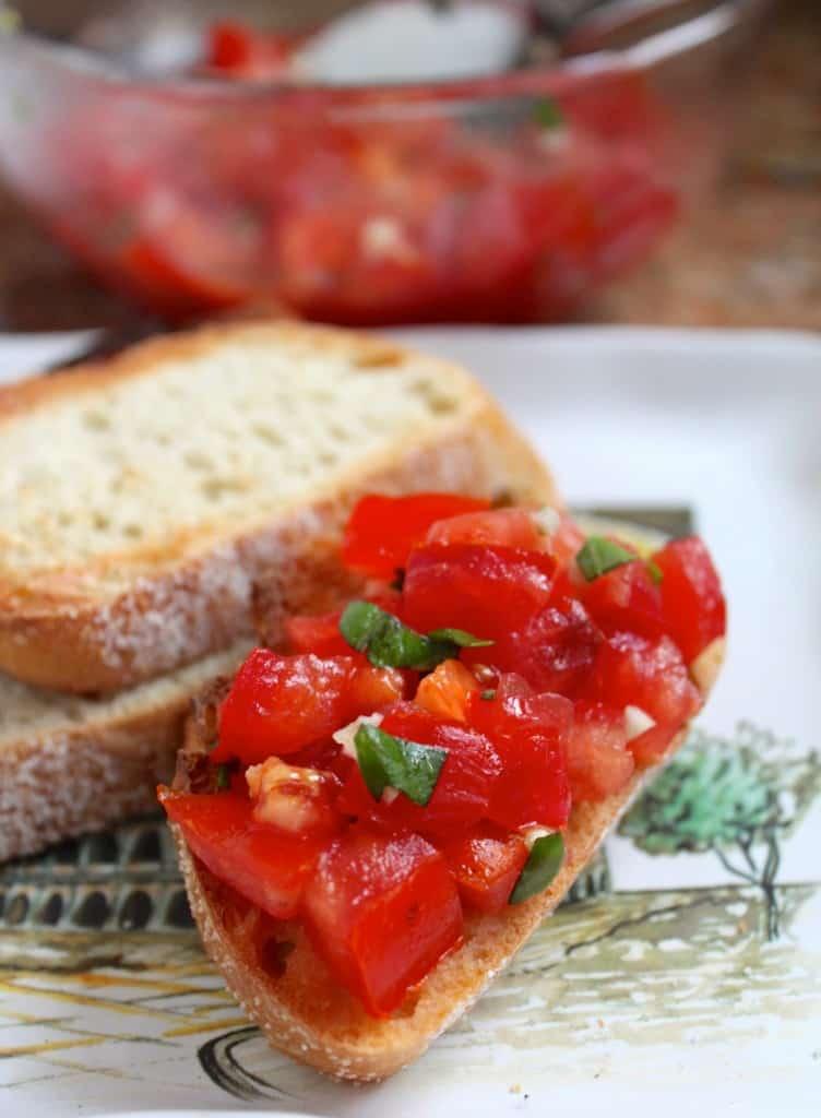 bruschetta fresh tomato basil garlic olive oil toasted bread baguette recipe correct pronunciation authentic italian