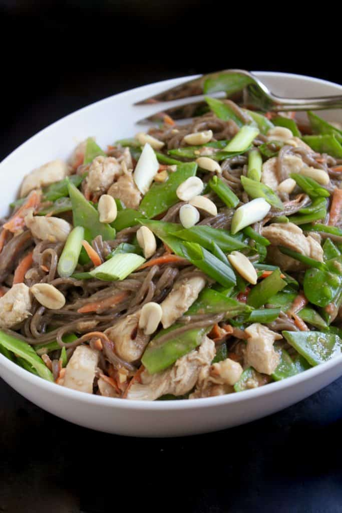 Spicy soba noodles with chicken and peanut sauce