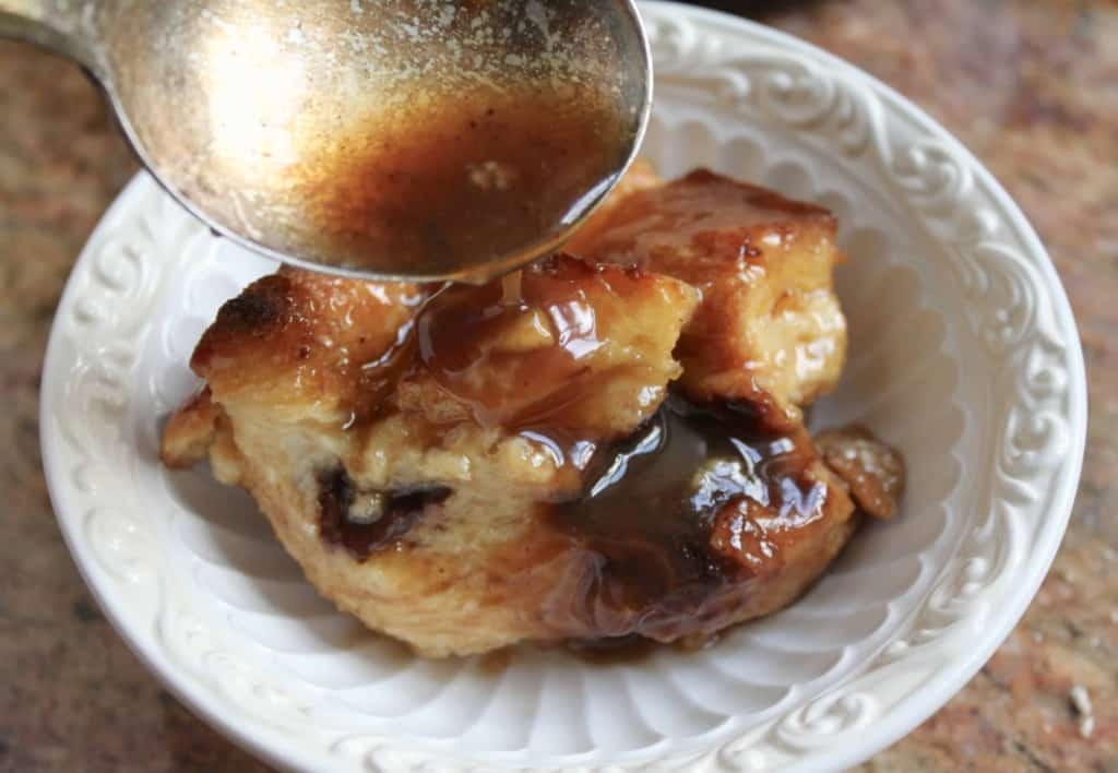 Chocolate bread and butter pudding with whisky sauce