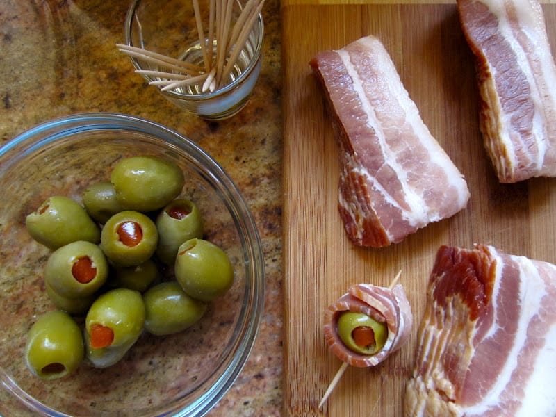 bacon wrapped olives easy appetizers recipe