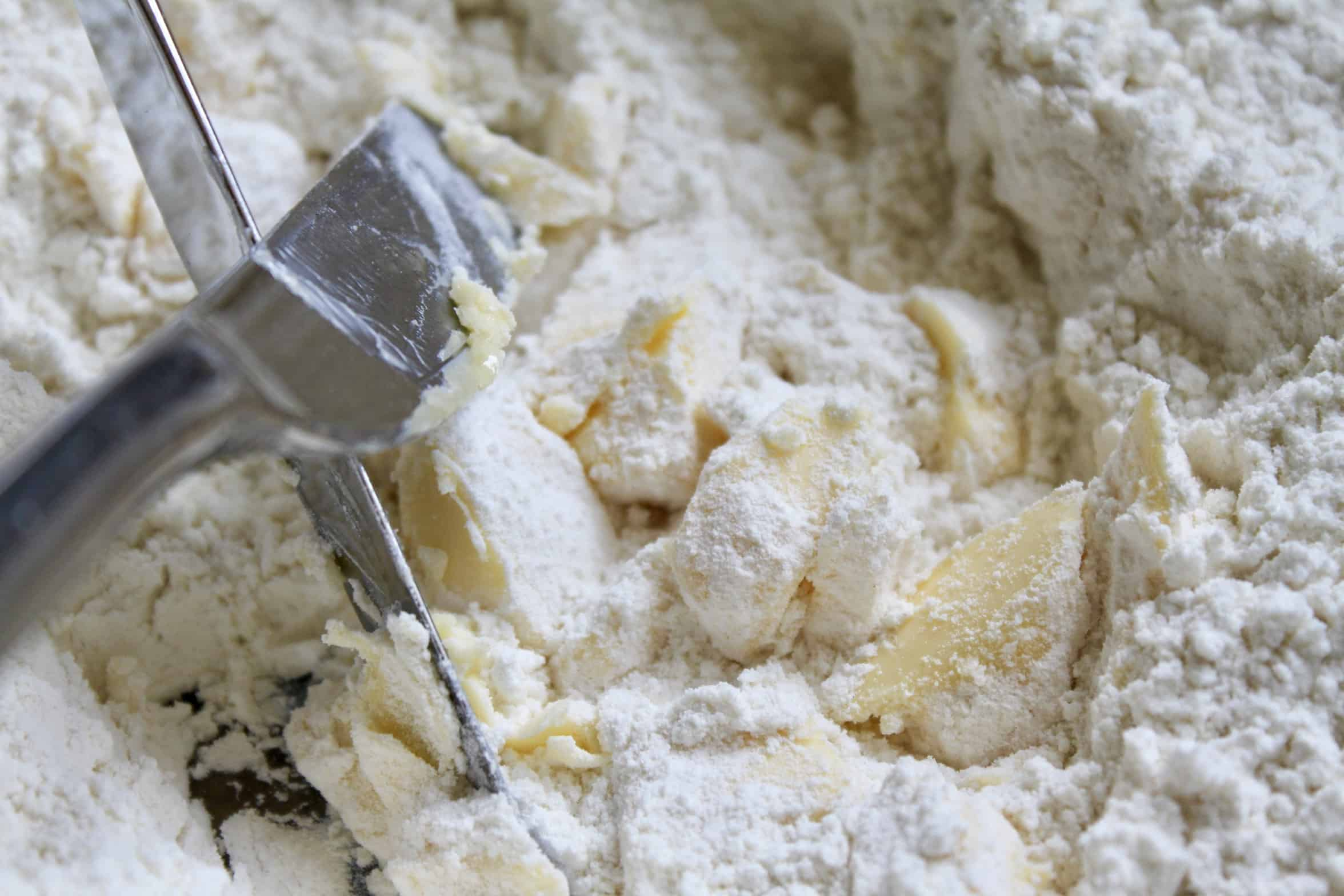 Cutting butter into flour for scones