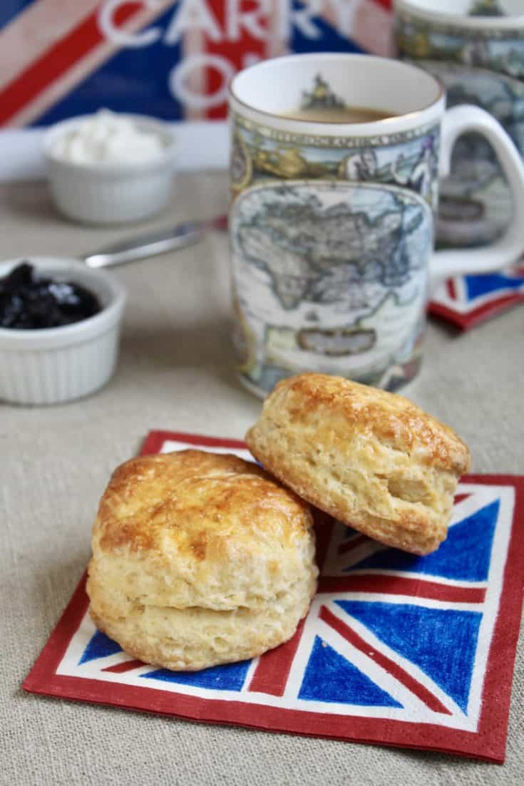 Easy, authentic British afternoon tea scone recipe for tall, light and fluffy scones.