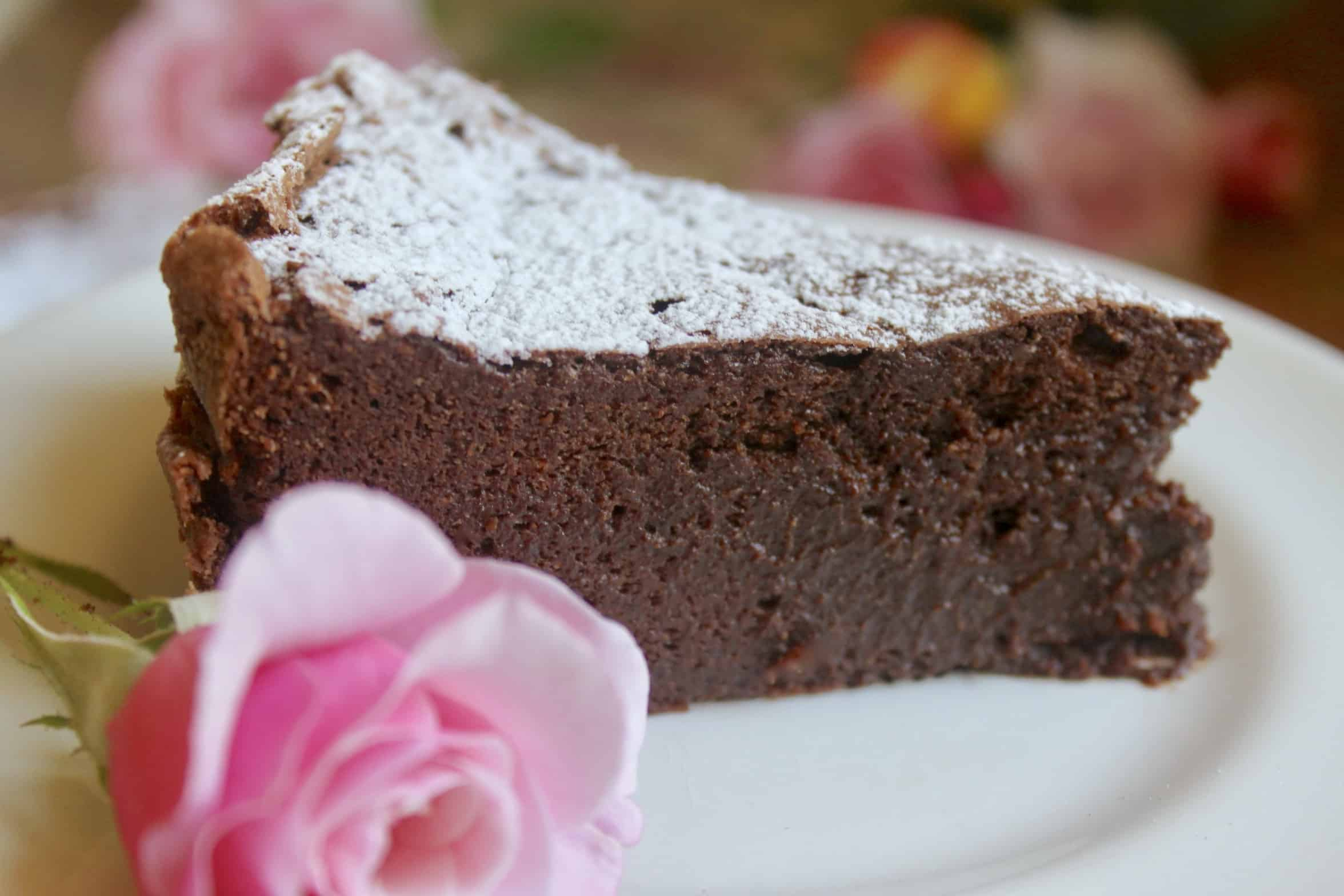 flourless chocolate torte on a plate