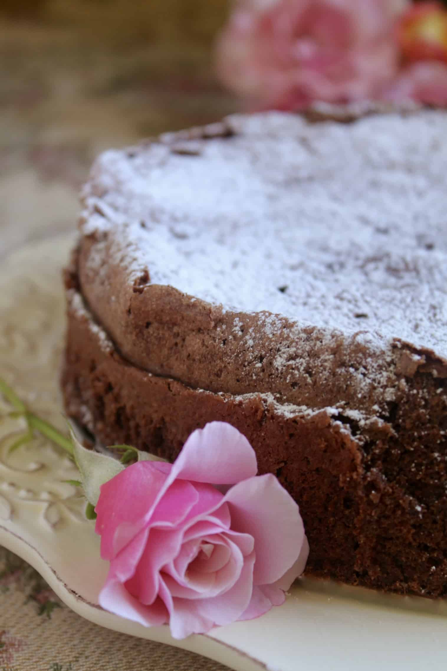 chocolate torte with pink rose