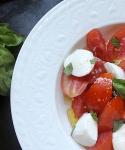 overhead shot of caprese salad in a bowl