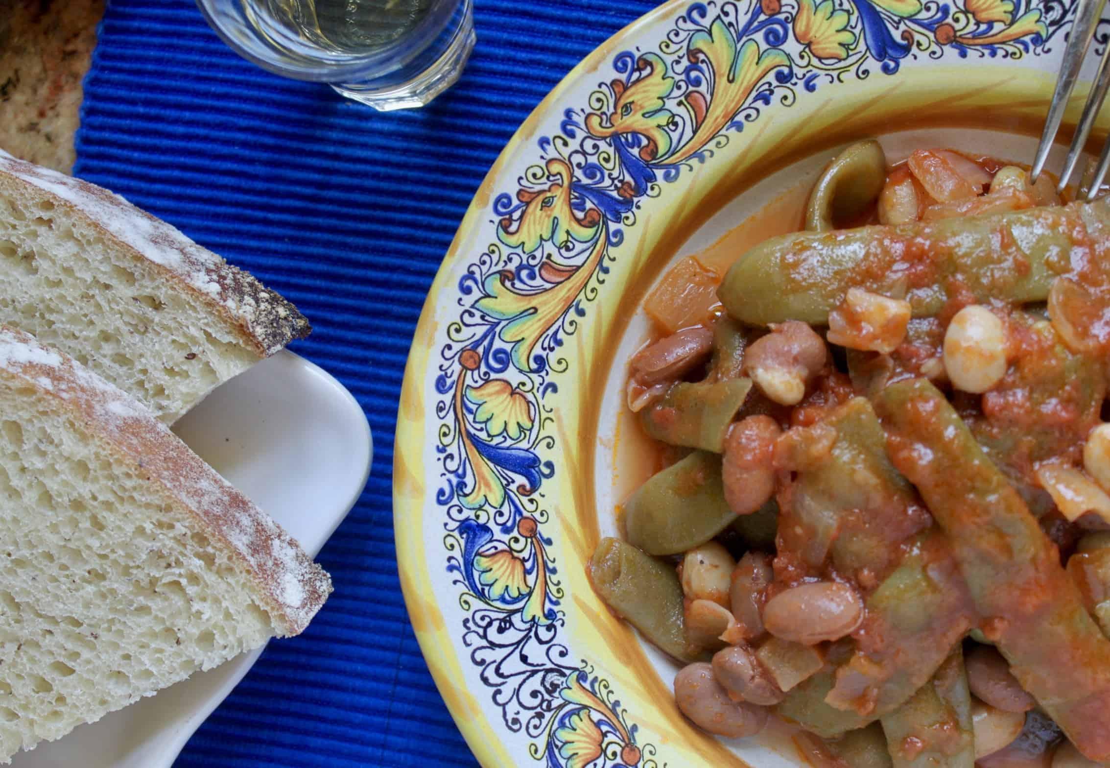 Italian green beans flat lay with bread