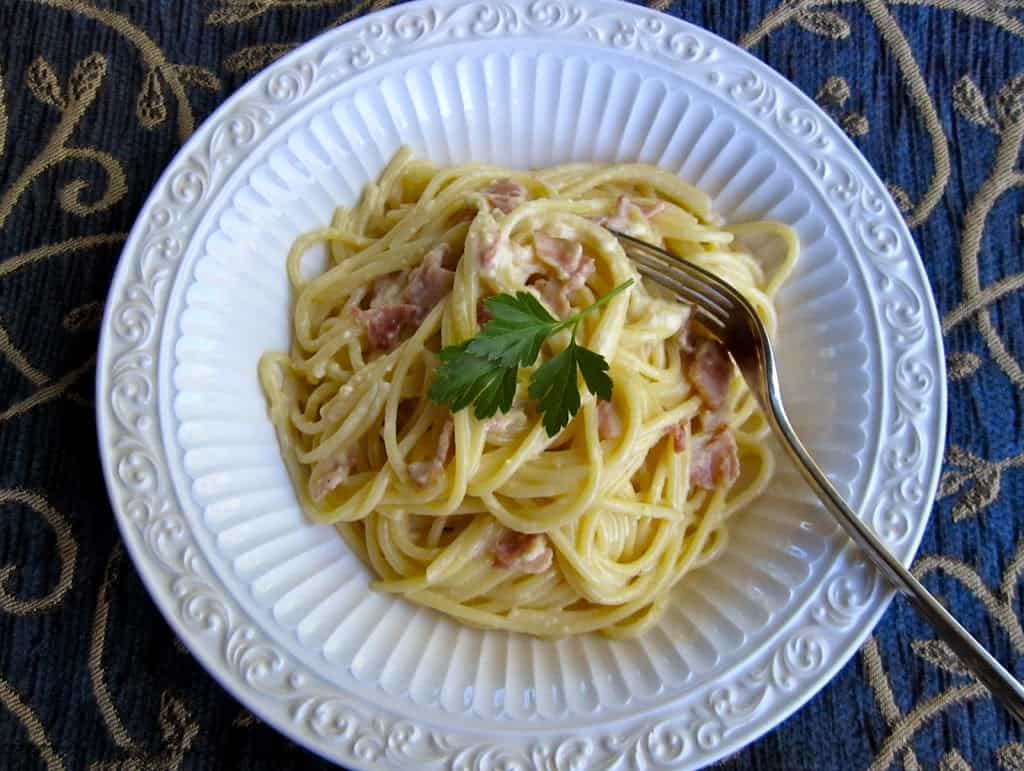 Spaghetti alla Carbonara (low-fat and not-so-low-fat versions!)