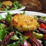 Mixed Green Salad with Warm Breaded Goat Cheese Rounds and Balsamic Vinaigrette