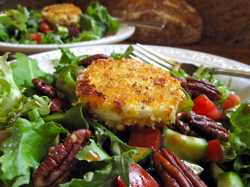 Mixed Green Salad with Warm Breaded Goat Cheese Rounds and Balsamic ...