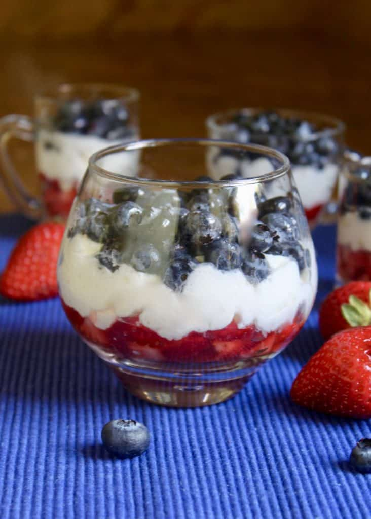 red white and blue mini trifles