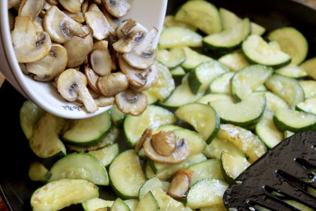 adding mushrooms to zucchini