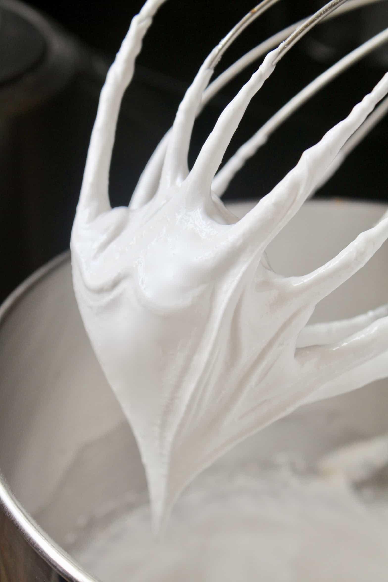 stiff glossy peaks in egg white mixture