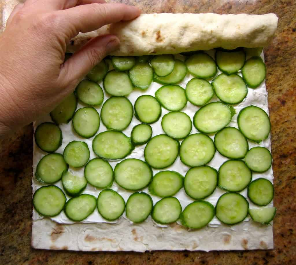 cucumber and cream cheese lavash roll sandwiches homemade lunch