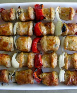 Italian Spicy Sausage Skewers