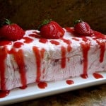 Frozen Strawberry and Meringue Dessert with Strawberry Coulis