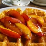 Overnight Waffles with Buttery Maple Nectarine Topping