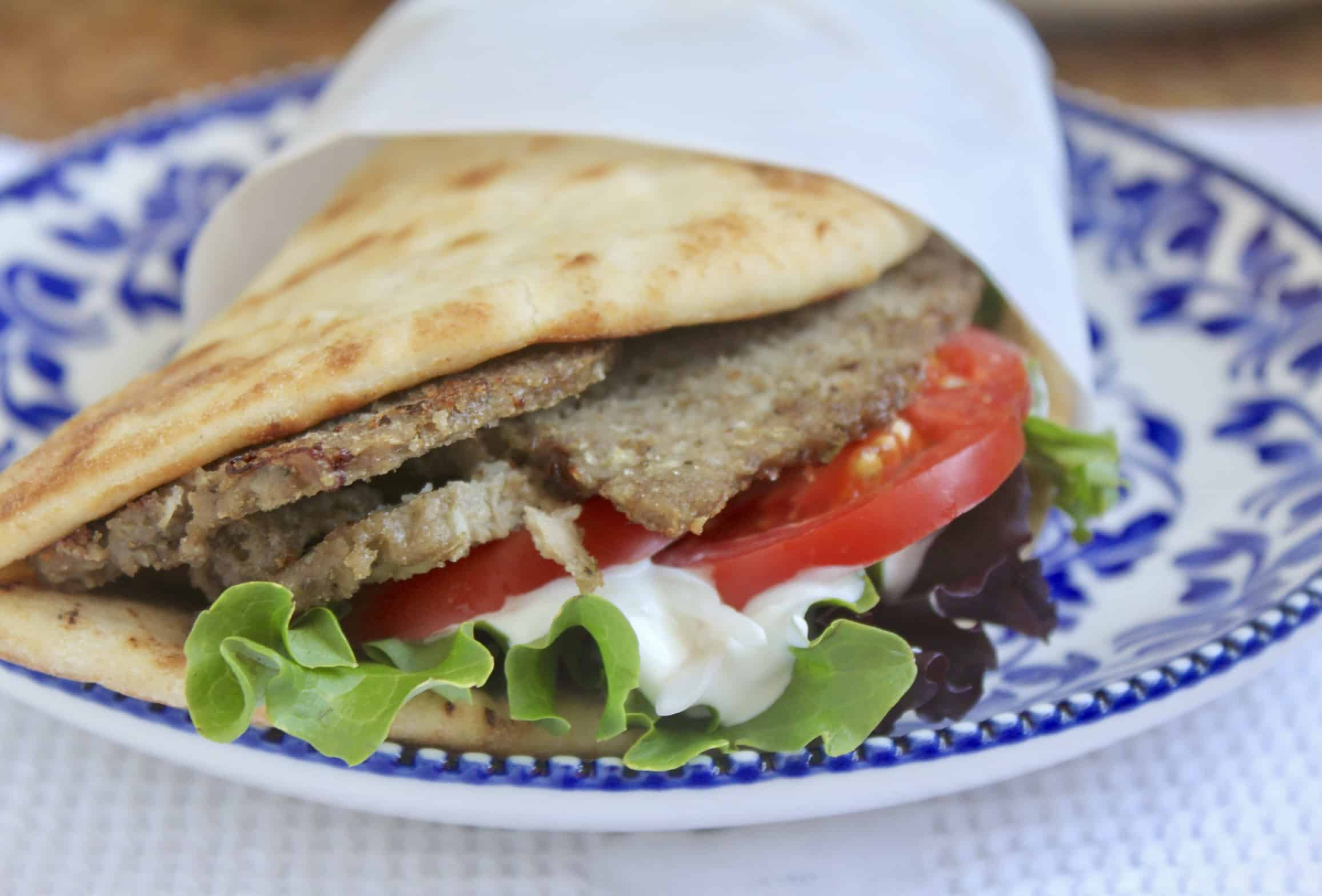 homemade Greek gyro on a plate