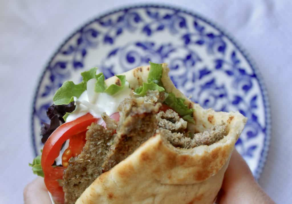 eating a homemade Greek gyro