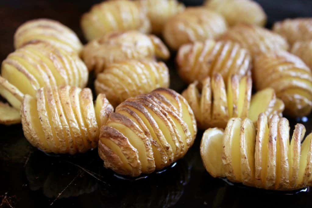 Tiny Truffled Hasselback Potatoes