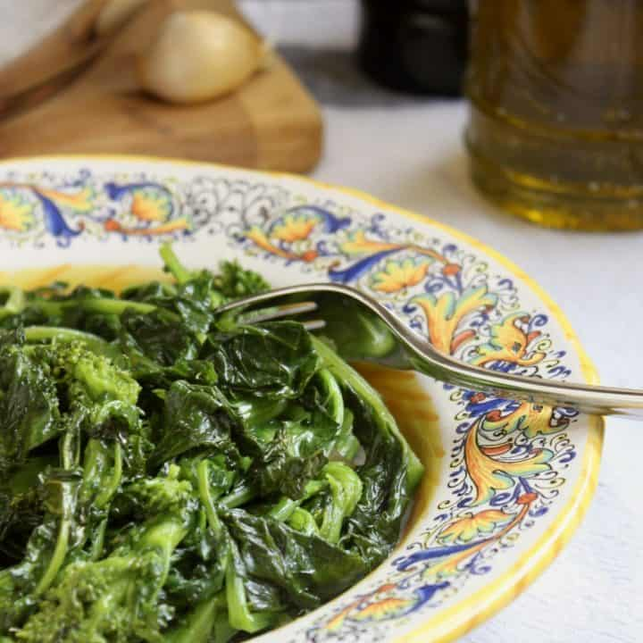 sauteed rapini in a bowl