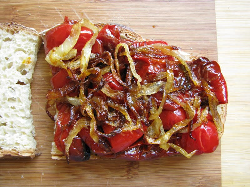onion on red pepper grilled cheese sandwich