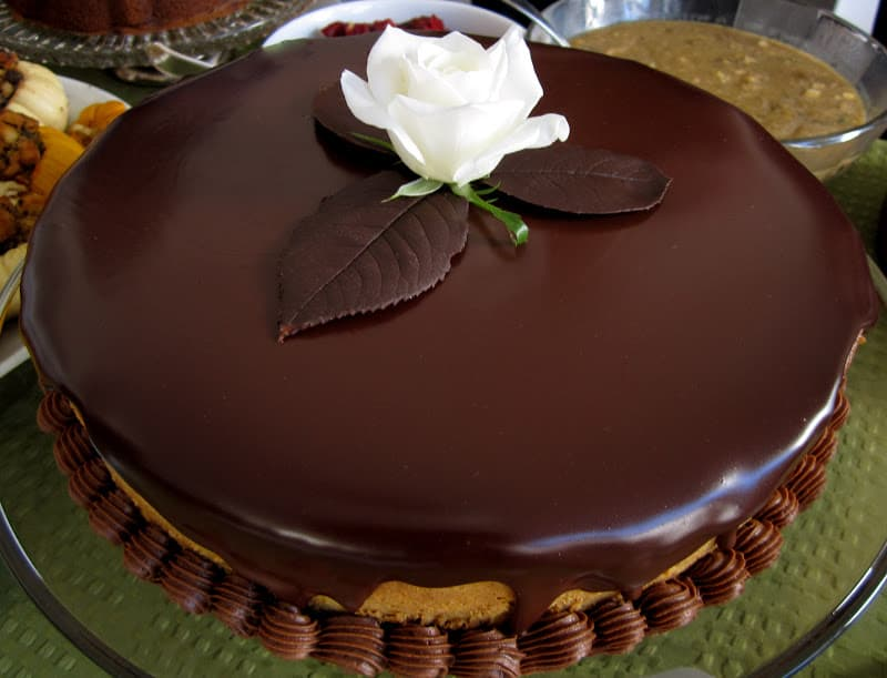 Pumpkin cheesecake and chocolate mousse topped with dark for Different types of cakes recipes with pictures