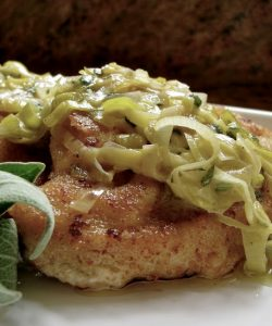Turkey schnitzel with butter sage sauce