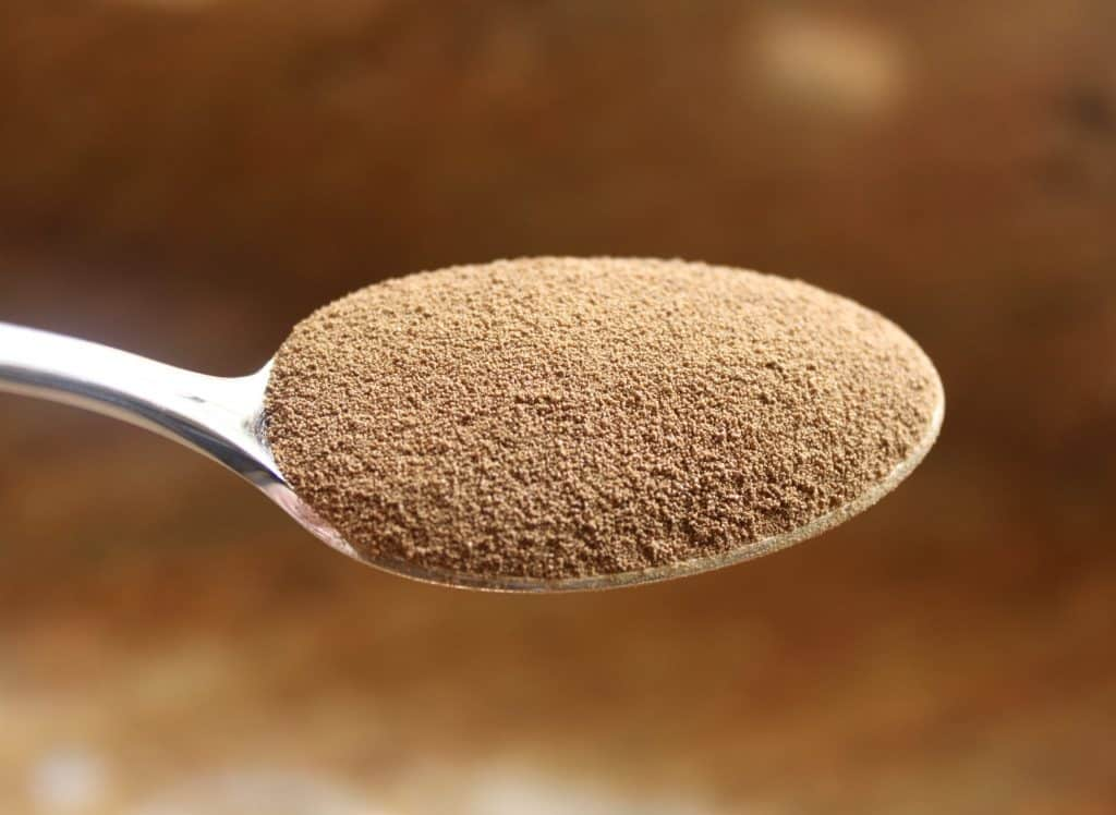 orzo coffee substitute in a spoon