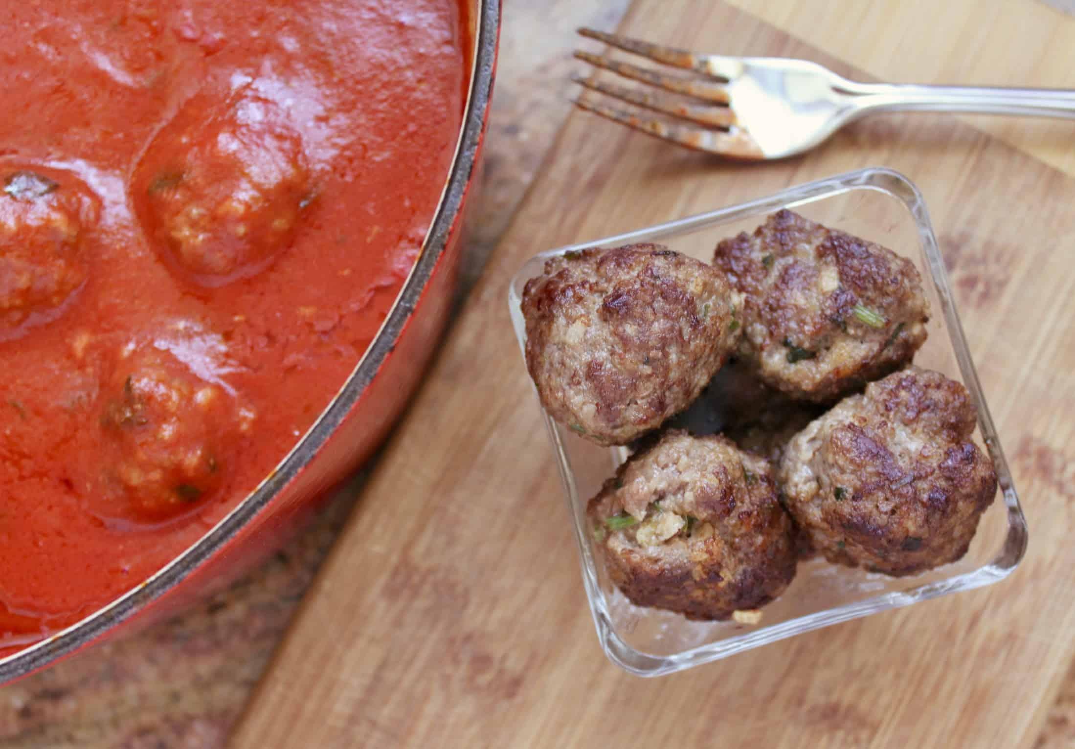 meatballs and sauce flatlay
