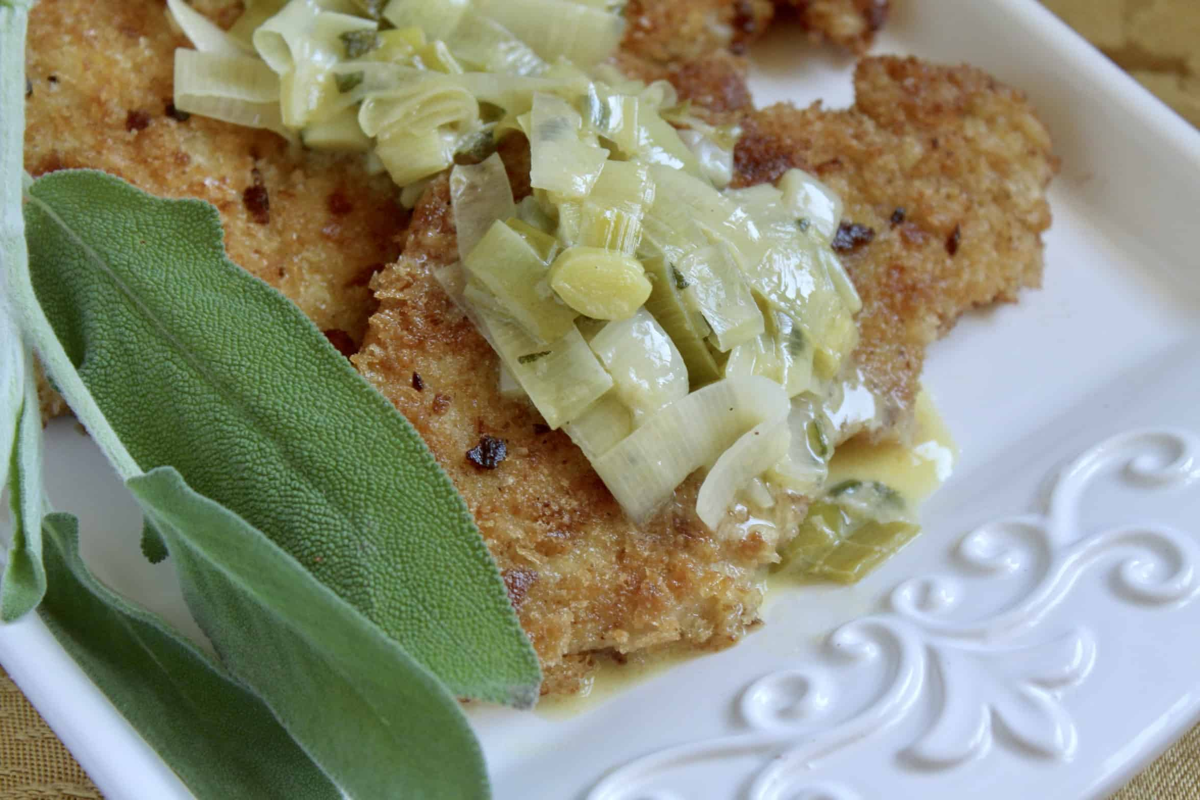 Turkey Cutlets Breaded With Leeks And Butter Sage Sauce Christina S Cucina