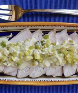 overhead leftover turkey breast with leeks recipe