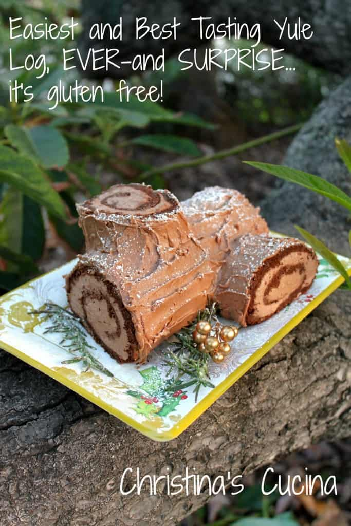 Yule Log on a plate on a tree branch