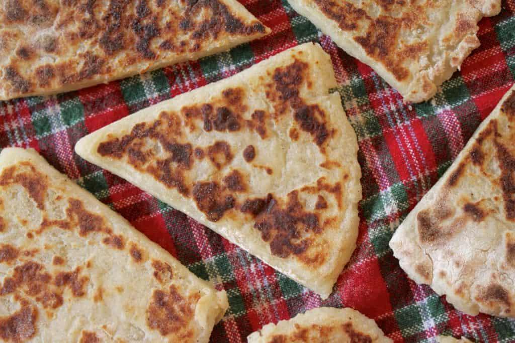potato scones on tartan cloth
