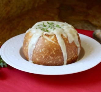 Christina's Clam Chowder (without cream) in a Sourdough Bread Bowl