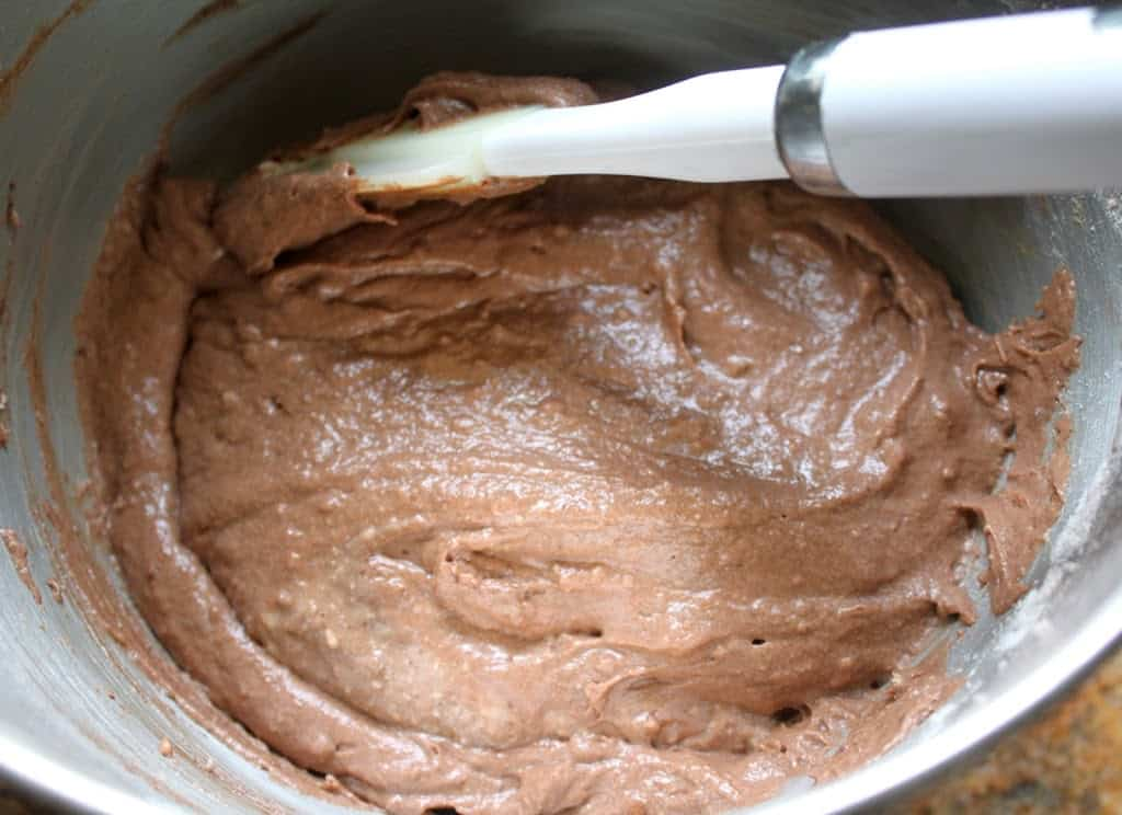 Making buttermilk chocolate cake batter