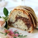 Banana Nutella Swirl Bundt Cake with Coffee Icing