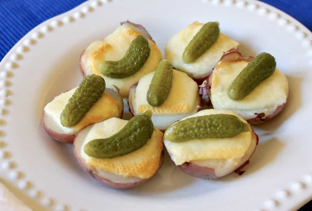 Raclette with potatoes and cornichons