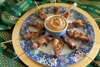 Singapore Chicken Satay Skewers with Peanut Sauce