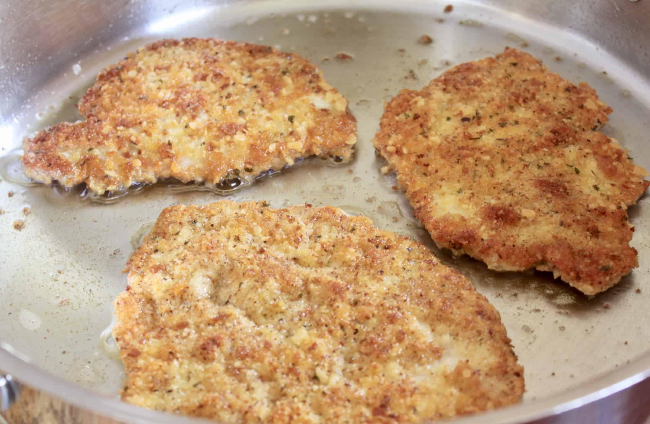 frying breaded pork chops