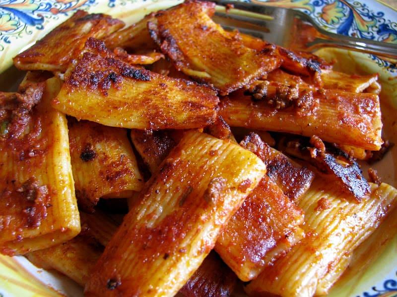 crispy leftover pasta spaghetti rigatoni penne marinara bolognese diy recipe easy italian