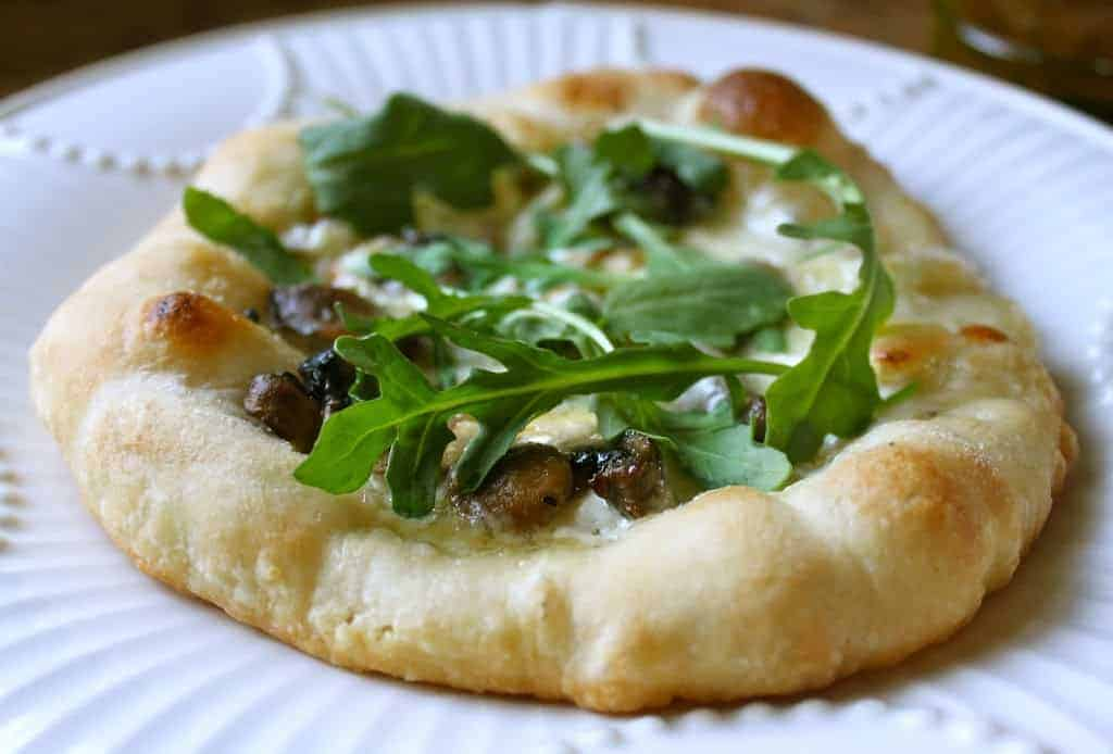 Mushroom, Brie and Arugula Pizza (with Truffle Crème Fraîche)