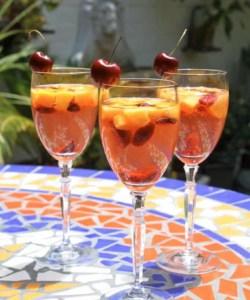 summer sangria wine fruit spritzer cherry peach plum boozy drink alcohol recipe