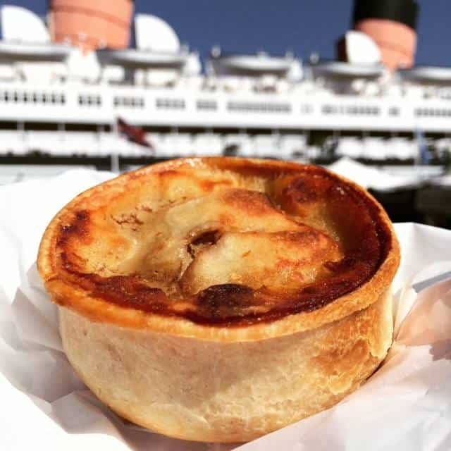 Scottish Meat Pie in front of the Queen Mary