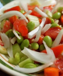 denisa summer salad edamame carrot onion tomato healthy lunch
