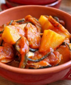Dried Zucchini, Pancetta and Potatoes (in Tomato Sauce)