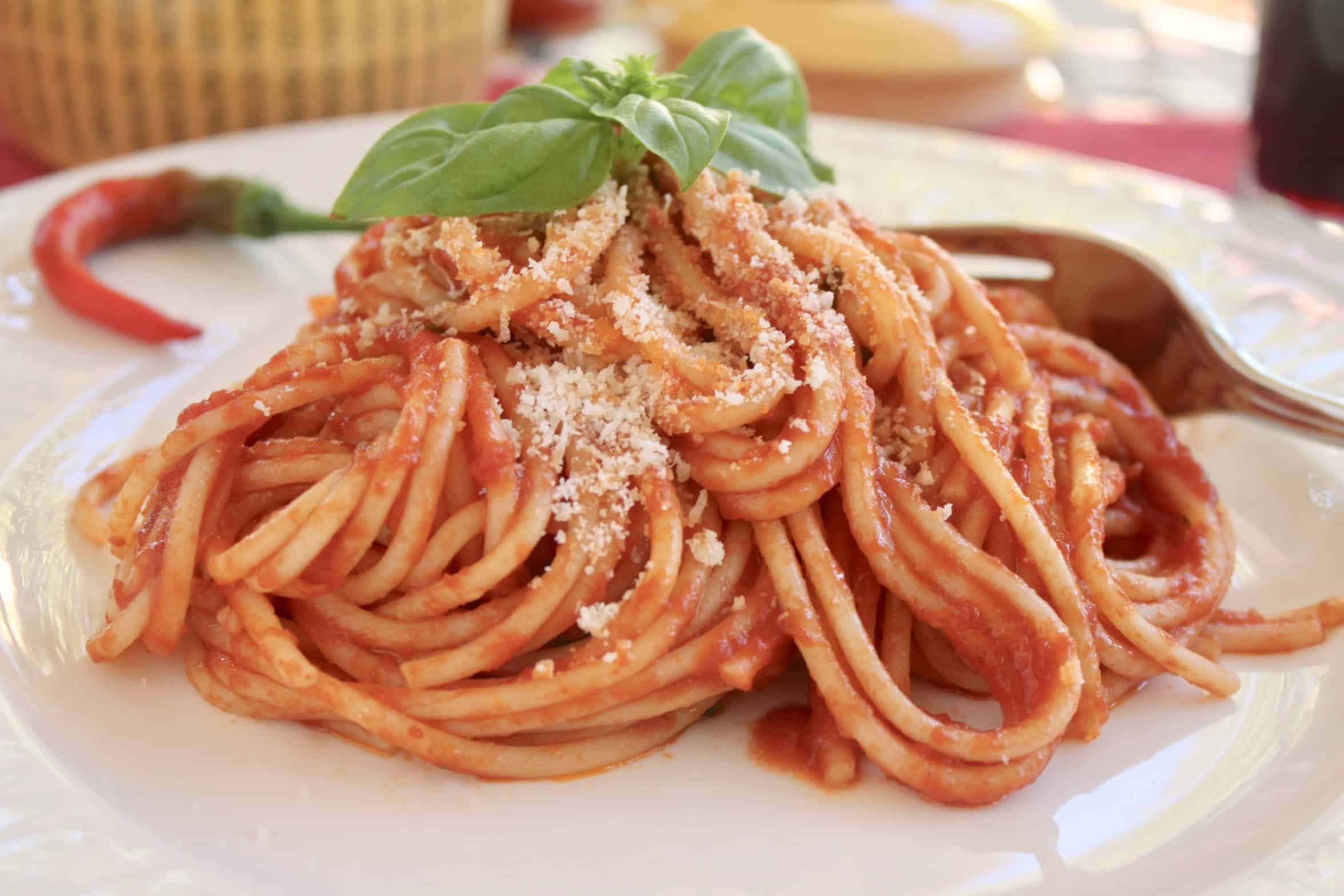 spaghetti with parmesan and basil on a plate